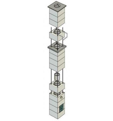 Tribbel blok skorsten 4,56m ( puds ) keramisk Ø16cm